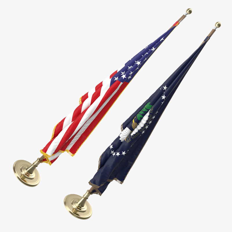 3D oval office flags usa model