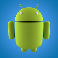 3D model android robot green