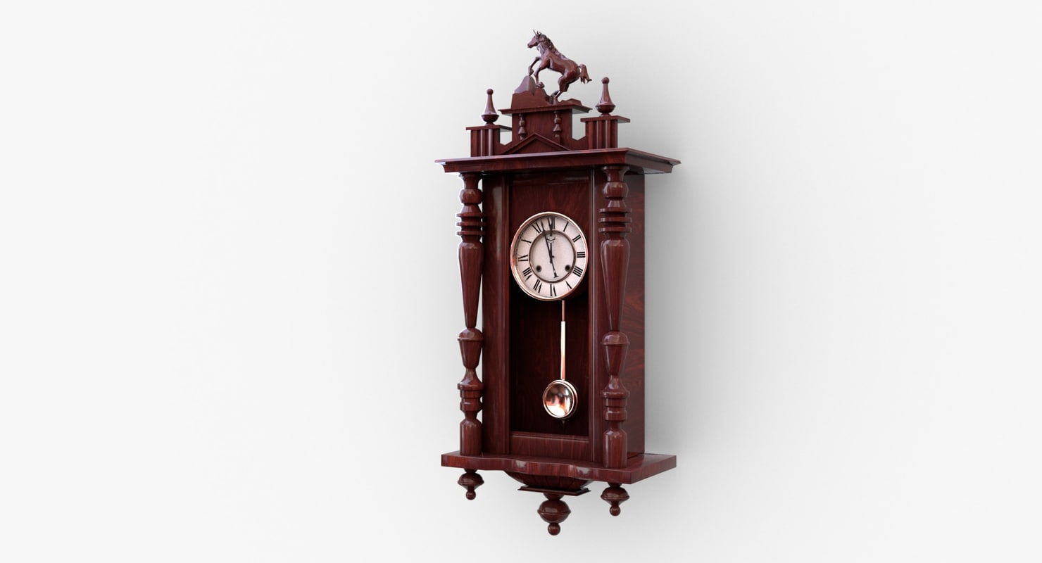 antique wall clock pendulum 3D model