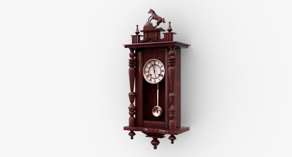 antique wall clock pendulum 3D model