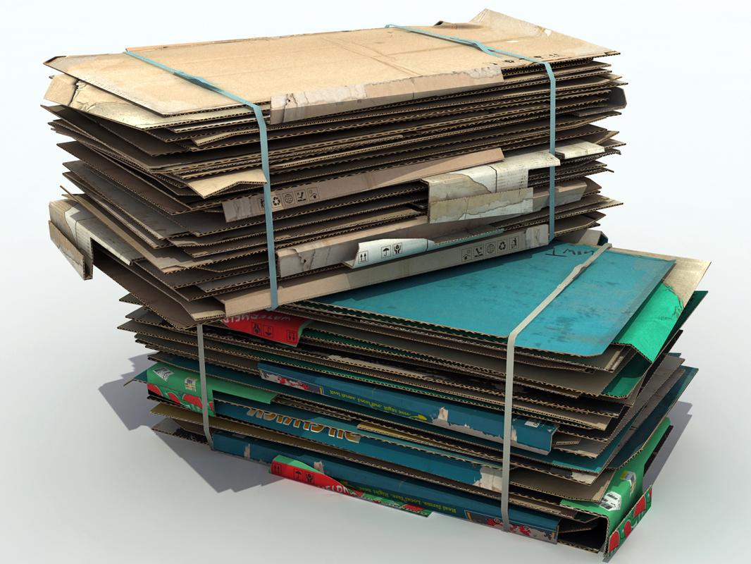 3D pressed cardboard bales stack