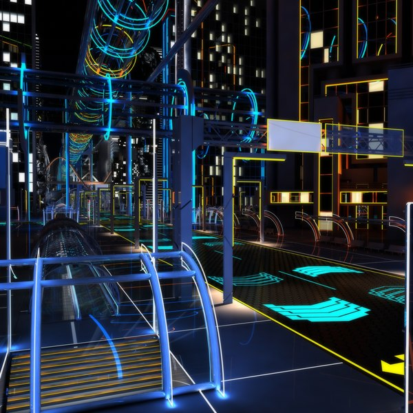night future street city 3D model