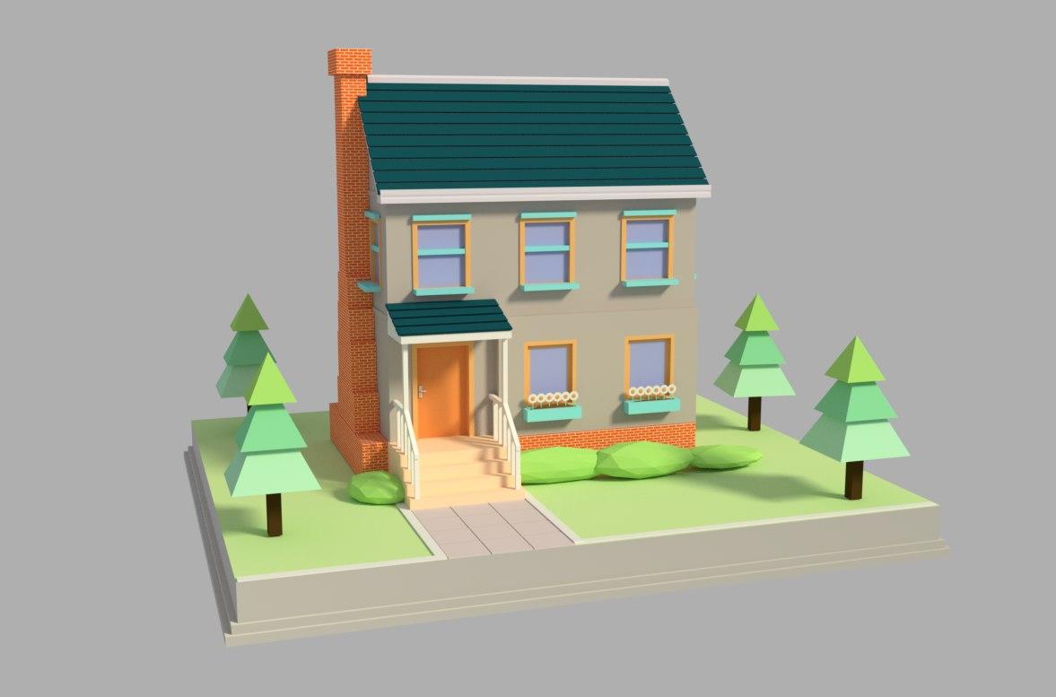 cottage house cartoon 3D model