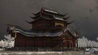 winter ancient palace building 3D