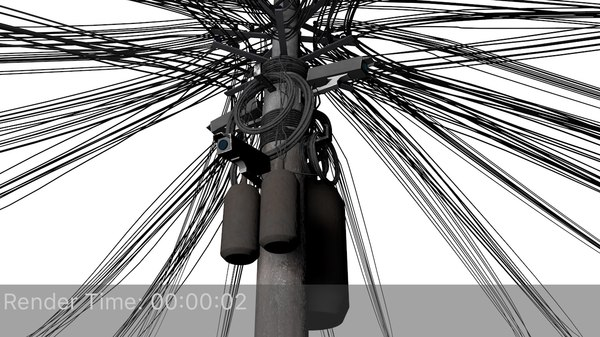 overhead cable electric 3D