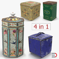 3D model vintage tea coffee tins