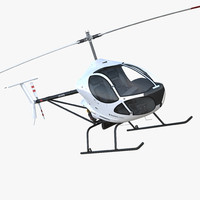 Ultra Light Helicopter Cicare 8 Rigged 3D Model