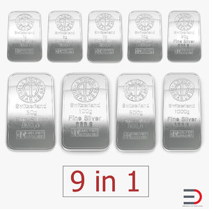 3D silver bars