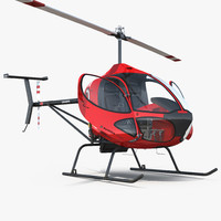 Sport Helicopter Cicare 8 Rigged 3D Model