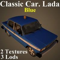 3D model classic car lada blu