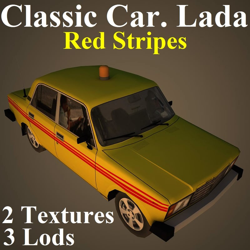 classic car lada red 3D model