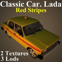 classic car lada red 3D model