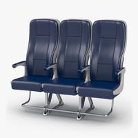 Aircraft Economy Class Passenger Triple Seats