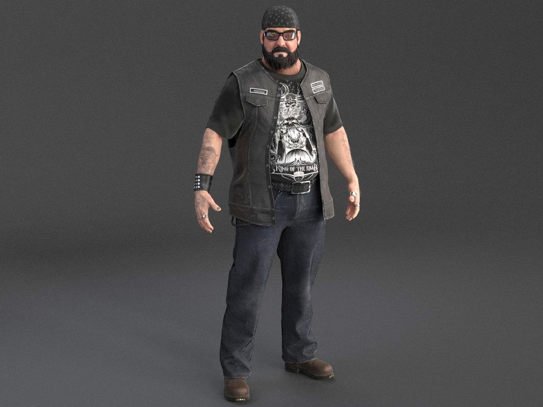 3D model biker rider outlaw