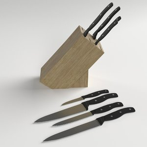 3D kitchen knives wooden stand
