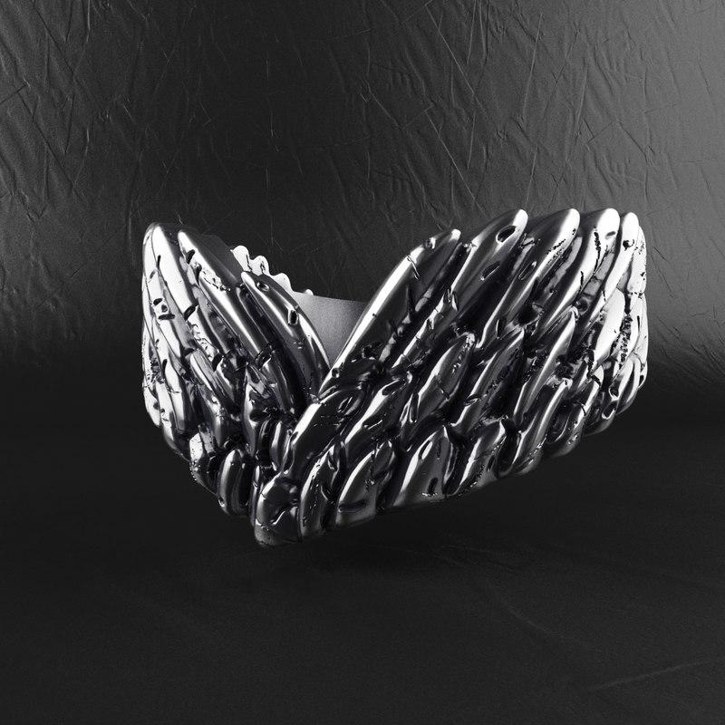 3D angel wings ring model