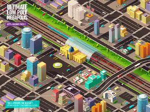 3D architecture city pack railway model