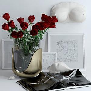 bouquet roses lips marble 3D model
