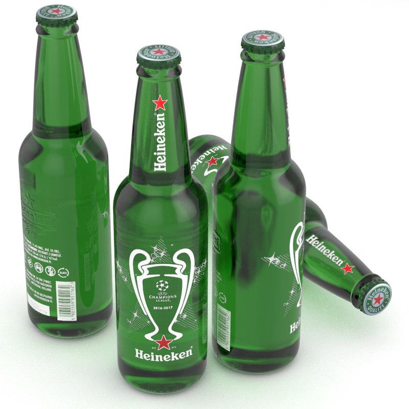 3D beer bottle heineken champions league