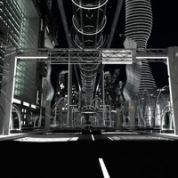 3D night future street city
