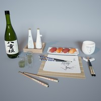 3D sushi set model