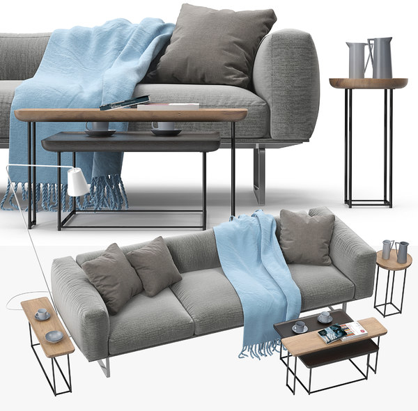 3D model cassina 206 cube sofa set