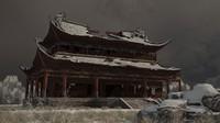 3D winter snow ancient building