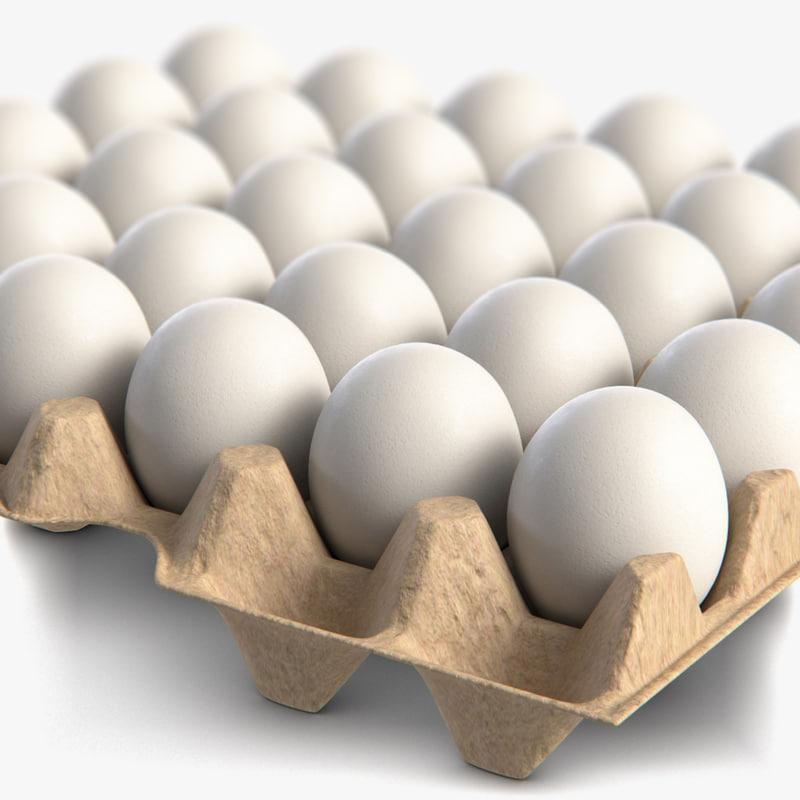 3D egg package white