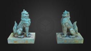 3D komainu 3 guardian lions model