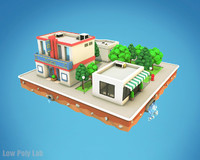 Cartoon City Block Low Poly Cinema
