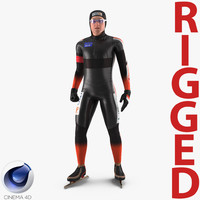 speed skater 2 rigged 3D model