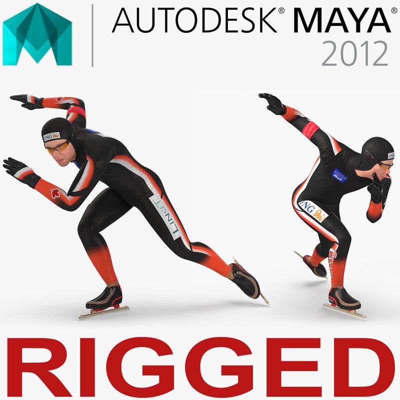speed skater 2 rigged model