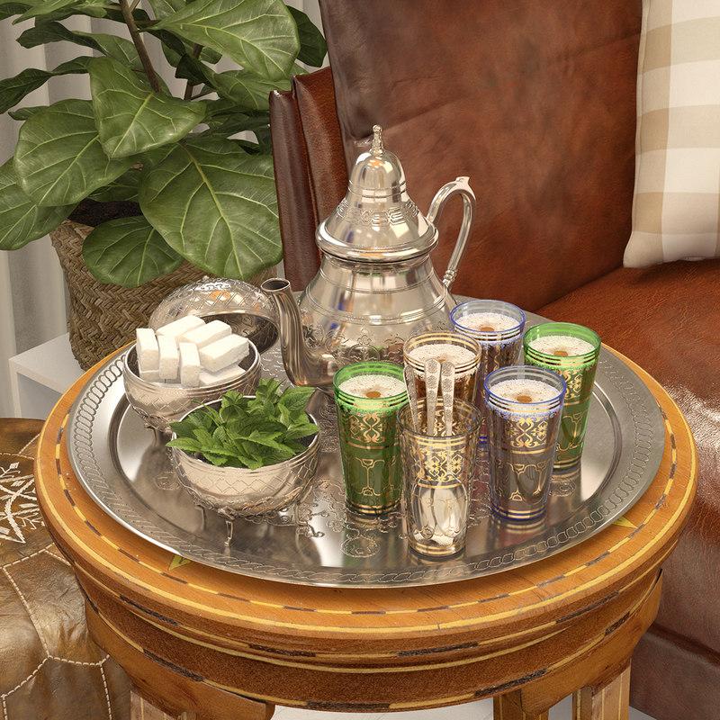 3D moroccan tea set model
