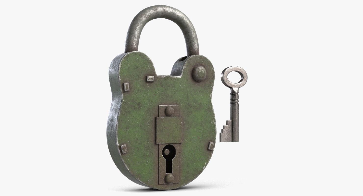 3D padlock key 3 model