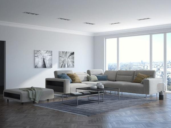 3D model boconcept set sofa lamp