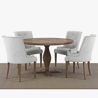 Food group: Lamier dining table around + 4 pcs Tuva beige chairs