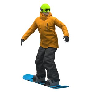 snowboarder snow board 3D model
