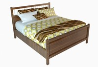 IKEA Wooden Double Bed with pillow