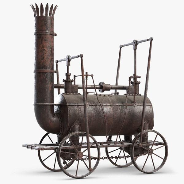 old steam locomotive 3D