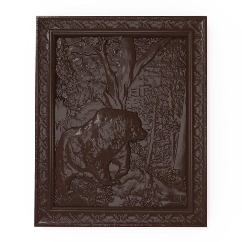 bas relief bear forest 3D model
