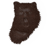 bas relief angry bear model