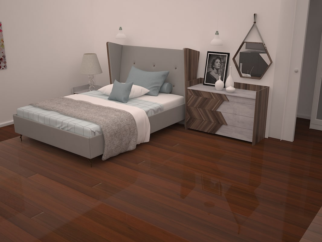 3D bedroom minimalist style room model - TurboSquid 1151256