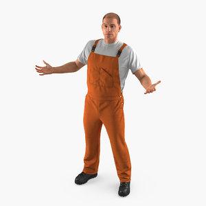 3D worker wearing orange overalls