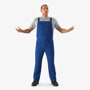worker wearing boiler suit 3D model