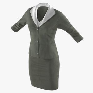 3D women skirt suit model