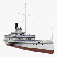 steam paddle ship stadt 3D