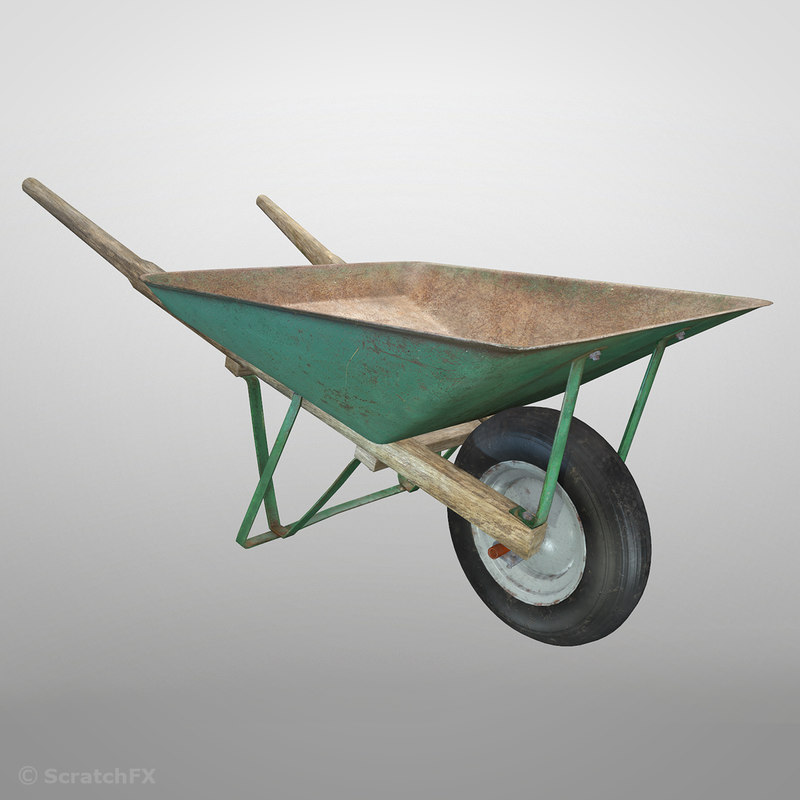 3D wheelbarrow pbr model