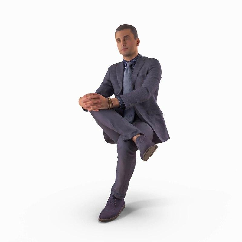 businessman sitting foot human body 3D