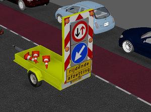 trailer road works 3D model