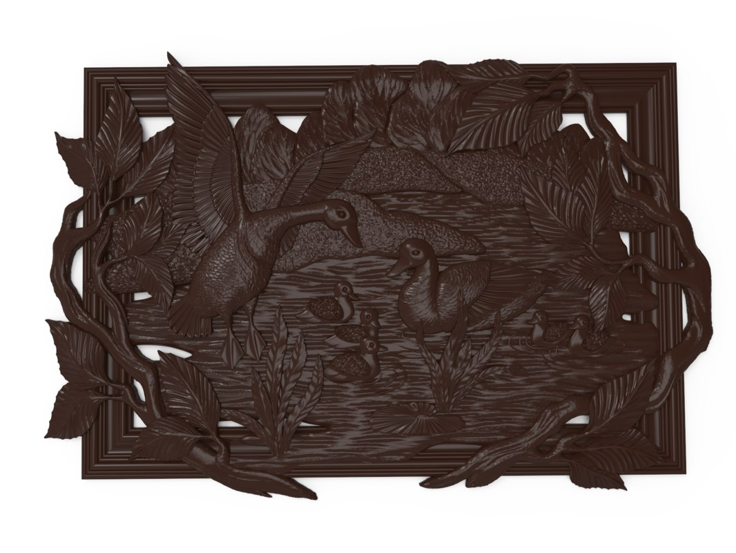 bas relief geese pond 3D model